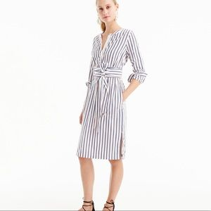 Thomas Mason J. Crew Striped Tie-Waist Shirtdress